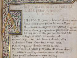 Rukopis Lucretiova De Rerum Natura z roku 1563. Kredit: Wikipedia.