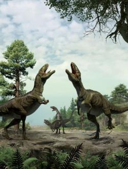 Podobné namlouvací rituály mohly být v období křídy zcela běžné. Týkaly se nepochybně i velkých teropodů v hmotnostní kategorii několika metrických tun, což mohlo skýtat skutečně pozoruhodnou podívanou. Kredit: University of Colorado Denver, autoři Lida Xing a Yujiang Han.