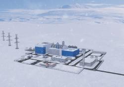 Vizualizace plánované elektrárny v Jakutsku, která by využila malý modulární reaktor na bázi reaktoru RITM-200 (zdroj Rosatom).