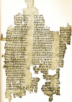 Zachovaný fragment opisu Antifontova díla, Egypt, 3. století n. l. Kredit: Wikimedia Commons.