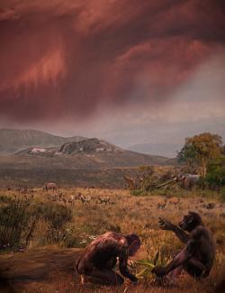 """Graekopitékovi se již dostalo přezdívky """"El Graeco"""". Takto je podle pokynů vědců zpodobnil Velizar Simeonovski (Chicago). V pozadí jsou vidět mastodont, žirafy, hroch a gazely, o nichž z vykopávek víme, že v té době na území Evropy žili. NMNHS. http://www.nmnhs.com/17052301-news_en.html"""