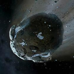 Asteroid plný vody. Kredit: NASA, ESA, M.A. Garlick (space-art.co.uk), University of Warwick & University of Cambridge.