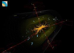 Kandidát na rozpad higgse na čtyři nabité leptony pozorovaný detektory CMS (zdroj CMS).