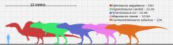 """Přehlídka několika obřích teropodů a jejich velikostní porovnání s dospělým člověkem. Oproti výčtu v příspěvku zde chybí jen Deinocheirus mirificus (který ale nespadá do kategorie """"super-predátorů""""), naopak zde """"přebývá"""" Mapusaurus roseae, který ale podle některých odborných prací vážil podstatně méně než jeho příbuzný Giganotosaurus carolinii. Pokud se nicméně v budoucnu potvrdí existence obřích fosilních fragmentů tohoto karcharodontosaura (nasvědčujících hmotnosti až kolem 8 tun), vrátí se nepochybně do elitní pětky. Kredit: KoprX; Wikipedie (CC BY-SA 4.0)"""