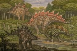 Severoameričtí stegosauridi známí ze sedimentů pozdně jurského souvrství Morrison. Kromě dvou druhů stegosaura v pozadí (S. ungulatus a S. stenops) zde defilují také mírně menší rody Hesperosaurus a Alcovasaurus. Kredit: ABelov2014; Wikipedia (CC BY-SA 3.0)