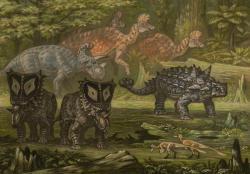 Idealizovaný ekosystémgeologického souvrství Oldmanse skupinkou korytosaurů, přecházejících v pozadí obrazu. V popředí jsou pak vlevo rohatí dinosauři rodůWendiceratops(dále) aChasmosaurus(blíže), vpravo ankylosauridScolosaurusa zcela vpředu dvojice menších teropodů příbuzných roduTroodon.Kredit:ABelov2014; Wikipedie (CC BY-SA 3.0).