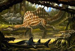 """Aegisuchové obývali stejné ekosystémy jako obří """"obojživelní"""" teropodi spinosauři, kteří s délkou 15 až 18 metrů dosahovali stejných nebo i mírně větších rozměrů. Je možné, že si přímo potravně konkurovali, protože jejich primárním zdrojem potravy byly nejspíše v obou případech ryby. Potenciální souboje obou obřích dravců tak musely být nepochybně fascinující podívanou. Kredit: ABelov2014; Wikipedie (CC BY 3.0)"""
