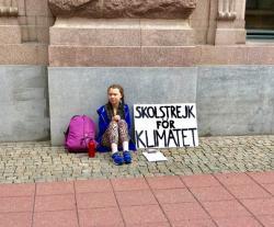 Iniciátorkou stávek za klima se stala Greta Thurnbergová (zdroj její facebook).
