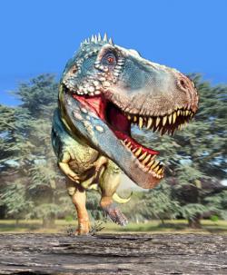 Tyrannosaurus rex, jak se mohl jevit ne��astn� ko�isti n�kolik vte�in p�ed jej� smrt�. Jak se ale uk�zalo, smrteln� nebezpe�� hrozilo i samotn�mu ob��mu teropodovi. Sta�ilo k tomu jen m�lo � jedno ne��astn� zakopnut� na tvrd�m povrchu, bez mo�nosti jej v�as vybalancovat. Kredit: Luis V. Rey, blog Luis V. Rey Updates Blog