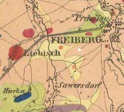 Hoheneggerova mapa, výřez 5,5 x 6,1 km. Bludné balvany představují červená kolečka se světlým středem. Janský sloup označen autorem bíle. Foto: Aleš Uhlíř.