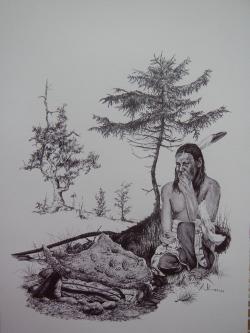 """Původní obyvatelé Severní Ameriky znali dinosauří zkameněliny velmi dobře, a to již celá tisíciletí před příchodem Evropanů. Je velmi pravděpodobné, že se občas setkávali i s fosiliemi samotného krále dinosaurů, a to na území současné Montany, Severní a Jižní Dakoty, Wyomingu, Colorada, Utahu, Texasu i Nového Mexika v USA a na území provincií Alberta a Saskatchewan v Kanadě. Na všech těchto územích už byly tyranosauří fosilie objeveny, možná o nich tedy dlouho před paleontology věděli i """"Indiáni"""". Kredit: Vladimír Rimbala, ilustrace k autorově knize Dinosauři v Čechách (Vyšehrad, 2017)."""