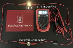 Experimentální chlórová baterie. Kredit: Stanford University/Guanzhou Zhu.