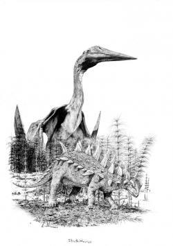 """Obří azdarchidní ptakoještěři se při výšce až kolem šesti metrů tyčili dokonce i nad mnohými dinosaury, žijícími ve stejných ekosystémech. Na území dnešního Rumunska pak pterosaur druhu Hatzegopteryx thambema možná při absenci velkých teropodů představoval vrcholového predátora. Na """"obrněné"""" nodosauridy, jakým byl i v popředí znázorněný druh Struthiosaurus transylvanicus, si však téměř s jistotou netroufal. Kredit: Vladimír Rimbala, ilustrace k autorově knize Pravěcí vládci Evropy (V. Socha, nakl. Kazda, 2020)."""