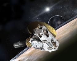 Sonda New Horizons nám v loňském roce začala odesílat první podrobné snímky vzdálené trpasličí planety Pluto. Ačkoliv letí rychlostí přes 16 km/s, cesta k ledovému světu podchlazenému na příjemných -230 °C mu i tak trvala téměř 10 pozemských let. Téměř celé desetiletí se řítila rychlostí, kterou by překonala například vzdálenost mezi Prahou a Brnem za pouhých 12 sekund. Kredit: Johns Hopkins University Applied Physics Laboratory/Southwest Research Institute