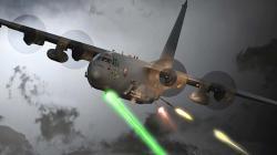 Umělecká vize starší verze letounu AC-130U slaserem. Kredit USAF.