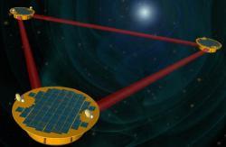 Původní varianta gravitačního teleskopu LISA (zdroj NASA).