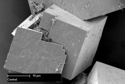 Materiál MOF na snímku SEM mikroskopu. Kredit: CSIRO.