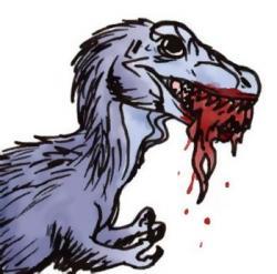 Spíše komické (či komiksové?) ztvárnění mláděte tyranosaura s pokryvem těla v podobě primitivného opeření a s tlamou plnou masa. Zřejmě již v několika měsících věku by byl jedinec druhu T. rex smrtelně nebezpečný i dospělému člověku. Kredit: Wikipedie (volné dílo)