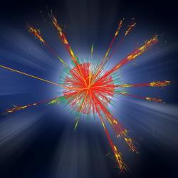 Simulace vzniku černé mikroskopické díry na LHC. Kredit: ATLAS experiment / CERN.