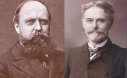 Oba velcí rivalové na svých civilních fotografiích. Ačkoliv měli v podstatě stejné cíle a podobné zájmy, svojí povahou se velmi lišili. Vlevo O. C. Marsh, vpravo E. D. Cope. Zdroj: Wikipedie