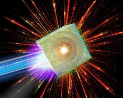 Laserová imploze mikrobubliny.Kredit: M. Murakami / Osaka University.