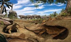 Stvoření zvané  Eunotosaurus je předchůdce dnešních želv. Zavrtávalo se do břehu vysychajících tůní, aby tam přečkalo období sucha. Na pozadí scény umělec namaloval stádo Bradysaurů shlukujících se okolo posledních zbytků bahnité vody. (Kredit: Andrey Atuchin)