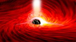 Supermasivní černá díra srentgenovými echy. Kredit: Dan Wilkins / Stanford.