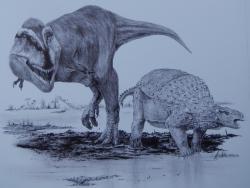 Dynamoterror dynastes je jedním z nejnovějších přírůstků do stále pestřejší rodiny tyranosauroidů (Tyrannosauroidea), nadčeledi menších až obřích dravých teropodů, žijících od období střední jury až po nejpozdnější křídu. Dynamoterror obýval oblasti na území dnešního Nového Mexika v době před 78 miliony let a spolu s nodosauridem druhu Invictarx zephyri (na obrázku vpravo) byl součástí ekosystémů, jejichž pozůstatky se nám dochovaly v sedimentech souvrství Menefee. Oba druhy dinosaurů byly formálně popsány v roce 2018. Kredit: Vladimír Rimbala, ilustrace k autorově knize Legenda jménem Tyrannosaurus rex (nakl. Pavel Mervart, 2019