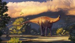 Umělecká rekonstrukce přibližného vzezření sauropoda druhu Dzharatitanis kingi (v původně předpokládané podobě coby zástupce čeledi Rebbachisauridae). Tento sauropodní dinosaurus žil v době před 92 až 90 miliony let na území současného Uzbekistánu. Kredit: Alexander Averianov; Wikipedie (CC BY 4.0)