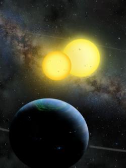 Tři tělesa systému Kepler 35. Kredit: Lynette Cook / extrasolar.spaceart.org.