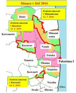 Stav zakázané zóny v létě 2016. Její plocha se docela radikálně zmenšuje.