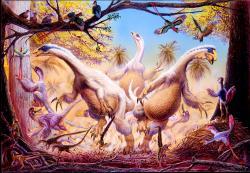 """Opeřený čínský dávnověk s dinosaury rodu Beipiaosaurus, Sinosauropteryx a Caudipteryx a """"praptákem"""" rodu Confuciusornis. Všichni tito teropodi vykazovali nějaký stupeň tělesného opeření, od jednoduchého vláknitého pokryvu až po plně vyvinutá obrysová pera. Kredit: Luis V. Rey, The New Chinese Revolution."""
