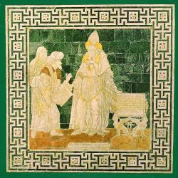 Hermés Trismegistos předává Mojžíšovi Zákon. Giovani di Stefano, 1488, mozaika na podlaze katedrály v Sieně. Kredit: Sdelodder, Wikimedia Commons. Volné dílo.