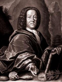 Johann Jakob Scheuchzer (1672 – 1733), švýcarský přírodovědec, lékař, kartograf a amatérský paleontolog. Portrét z díla Schabblatt aus der Physica Sacra, 1731. Převzato z Wikipedie.