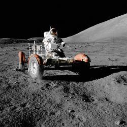Lunární rover mise Apollo 17. Kredit: NASA.