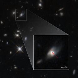Kilonova ze které vznikl magnetar. Kredit: NASA, ESA, W. Fong (Northwestern University), and T. Laskar (University of Bath, UK).