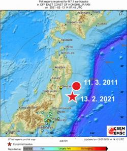 Po deseti letech od velkého zemětřesení v roce 2011 nastalo silné zemětřesení ve stejné oblasti, které může mít s tím původním souvislost. Na mapě je vyznačena přibližná poloha epicenter obou zemětřesení. Kredit: JMA (Japan Meteorological Agency).