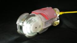 Podvodní robot, který pracoval uvnitř třetího kontejnmentu, jde o malou na dálku ovládanou ponorku se světly, kamerami, dozimetrem, poháněnou lodním šroubem. (Zdroj IRID).