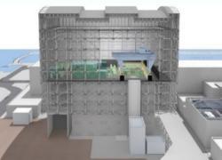 Představa nové horní části budovy prvního bloku a sestavy jeřábů pro manipulaci s palivovými soubory (zdroj TEPCO).