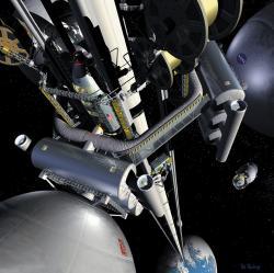 Představa o vzhledu vesmírného výtahu (Zdroj D.V. Smitherman Jr.: Space Elevators, An Advanced Earth-Space Infrastructure for the New Millennium, NASA/CP-2000-210429).