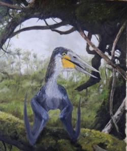 Rekonstrukce přibližného vzezření ptakoještěra druhu Cretornis hlavaci. Tento menší pterosaur obýval území současných Východních Čech v období geologického věku turon, tedy asi před 92 miliony let. Kredit: Vladimír Rimbala, pro autorovu knihu Dinosauři v Čechách (nakl. Vyšehrad, 2017).