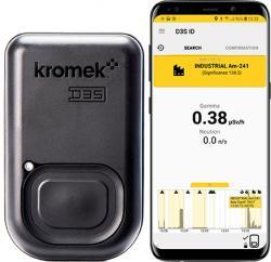 Detektor radioizotopů D3S schytrým telefonem. Kredit: Kromek.
