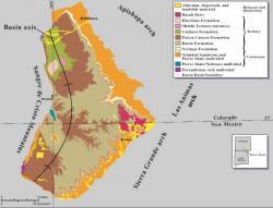 """Geologická mapa oblasti Raton Basin, v jejíchž svrchnokřídových sedimentech leží doklady o jedněch z posledních žijících neptačích dinosaurů. Pochází odtud také významné doklady o samotném K-T impaktu. Oblast se rozkládá na severovýchodě Nového Mexika a na jihovýchodě Colorada.Kredit: Ronald C. Johnson and Thomas M. Finn –US Geological Survey Bulletin2184-B, """"Potential for a Basin-Centered Gas Accumulation in the Raton Basin, Colorado and New Mexico"""", p.2. (Wikipedie)"""