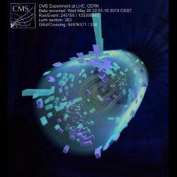 Rekordní srážka protonů na LHC o výsledné energii 13 TeV na detektoru CMS. Kredit: CMS / CERN.