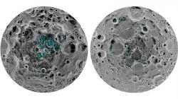 Rozložení výskytu ledu na měsíčních pólech pořízené přístrojem Moon Mineralogy Mapper, který měla NASA na sondě Čandraján 1 (zdroj NASA).