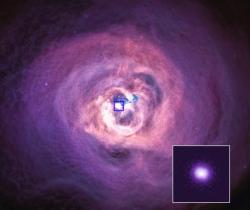 Supermasivní černé díra v centru kupy galaxií vPerseovi. Kredit: NASA/CXC/Univ. of Cambridge/C. Reynolds et al. 2020.