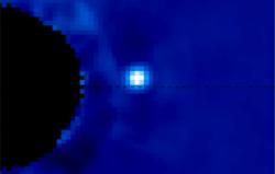 Exoplaneta Beta Pictoris b na snímku observatoře Gemini.  Kredit: M. Millar-Blanchaer, University of Toronto; F. Marchis, SETI Institute.