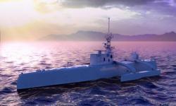 Autonomní lovec ponorek Sea Hunter. Kredit: DARPA.