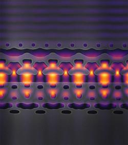 – Útroby urychlovače na čipu. Zvětšeno 25 tisíckrát. Kredit: Neil Sapra / Stanford University.