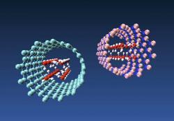 Voda uvnitř nanotrubiček. Vlevo uhlíková, vpravo z nitridu bóru. Kredit: Multiscale Materials Laboratory.